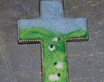 Very Large Needle Felted cross enclosed in silver plate - The Lords My Shepherd - Christian Jewellery