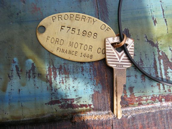 Roy Vintage Ford Motor Company Brass Tag And Ford Key
