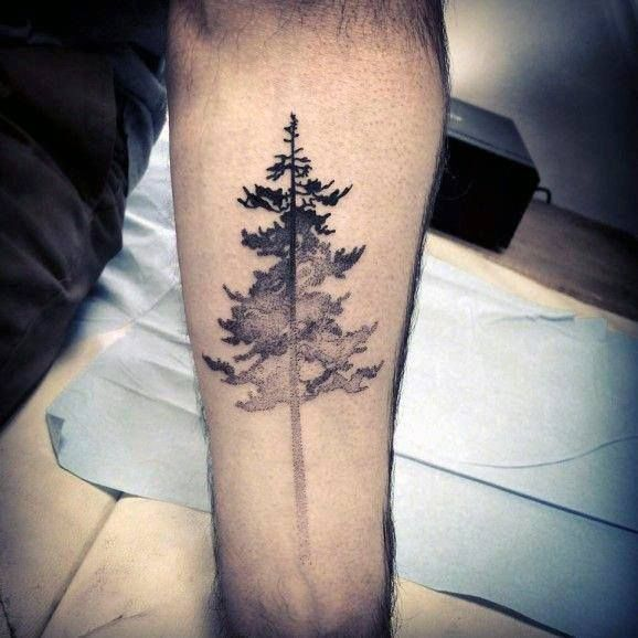Faded Simple Tree Mens Inner Forearm Tattoo