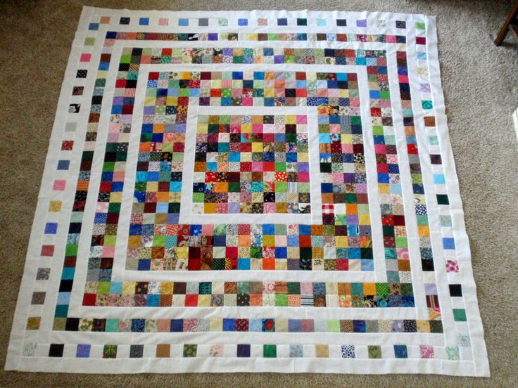 """2.5"""" scrap quilt (with my leftover 2.5"""" squares from the scrappy trip around the world)"""