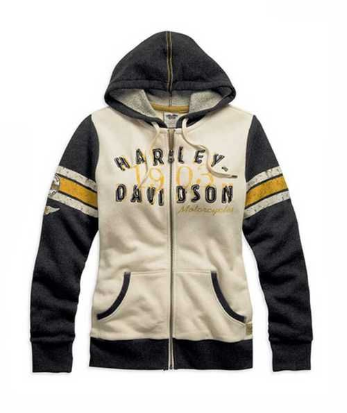 Free shipping over $99 - Harley-Davidson Women's Genuine Activewear Hooded Jacket Black/Cream. 99120-15VW - Essentials/Shirts & Hoodies/Womens Tops/Hoodies & Sweatshirts - Womens/Shirts & Hoodies/Hoodies & Sweatshirts