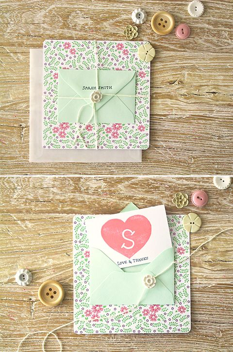 My DIY Bridesmaid Thank-you Cards on Once Wed- LOVE the buttons