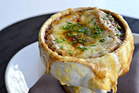 Braised Oxtail French Onion Soup at Yellow Door Bistro...the perfect way to fight winter's chill.