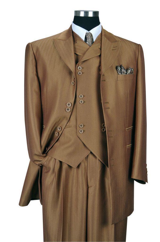Men/'s 3 Pc Fashion Suit With Vest And Pants Check Design Brown Black Navy 5802V6