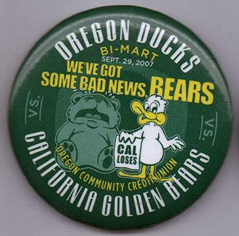 Sept 29 2007 Oregon Ducks Vs California Bears Football Button