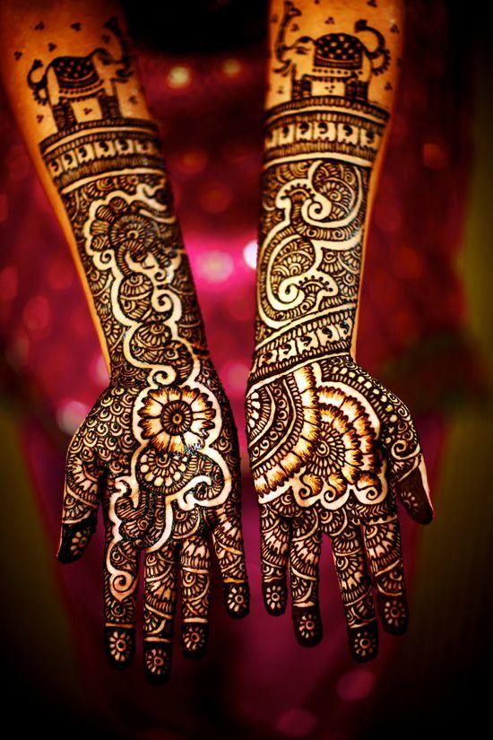 Bridal Henna.The elephants are so cute!
