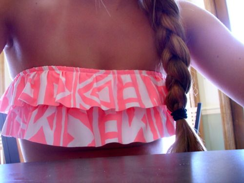 pink ruffle bathing suit top