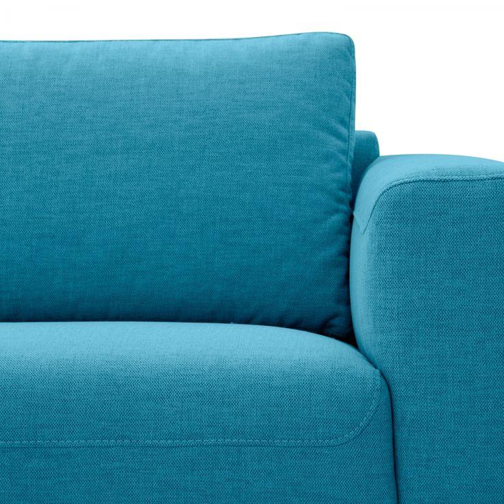 Hoekbank Bora - geweven stof - longchair vooraanzicht rechts - Roestvrij staal - Stof Anda II Turquoise