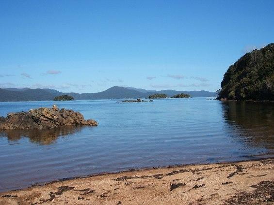 The clear waters of Paterson Inlet/Whaka a Te Wera Boulder Beach, Ulva Island/Te Wharawhara, New Zealand.