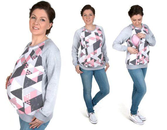 3 in 1 Maternity Pregnancy Sweatshirt Multifunctional Nursing Breastfeeding TUNIC  TOP with zippers S/M grey/coral pattern