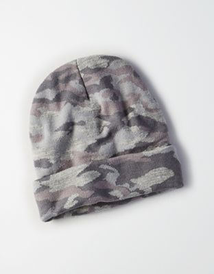 AEO Camo Beanie by  American Eagle Outfitters | Messy hair don't care. Hats for good hair days, bad hair days … all of the days. Messy hair don't care. Hats for good hair days, bad hair days … all of the days.  Shop the AEO Camo Beanie and check out more at AE.com.