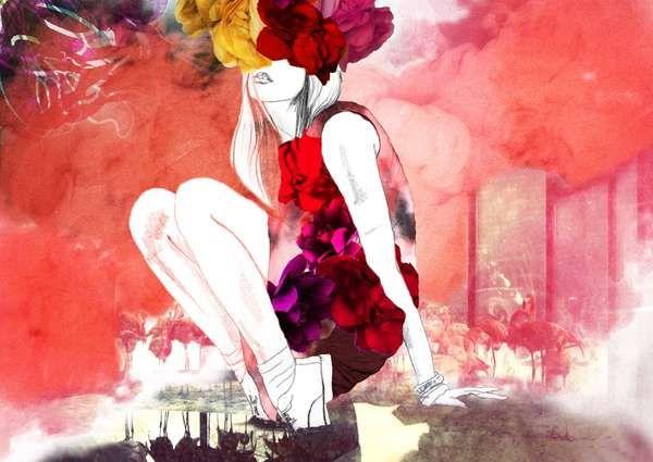 Watercolour fashion illustration: Pink Flamingos, Belindachen, Mixed Media, Fashion Collage, High Fashion, Belinda Chen, Fashion Illustrations, Couture Fashion, Fashion Sketch