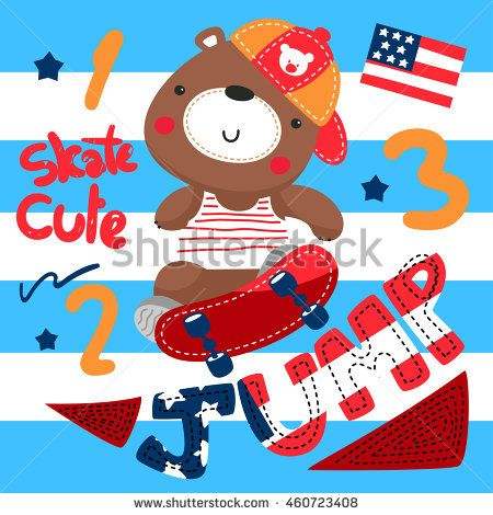 Cartoon teddy bear playing skateboard on blue and white striped background illustration vector.