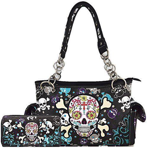Wallet Sugar Skull Day of the Dead Fashion Handbag Women Concealed Carry Purse