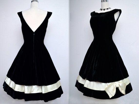 Vintage 50s Black Velvet Dress // 1950s Black & by VintageDevotion, $175.00