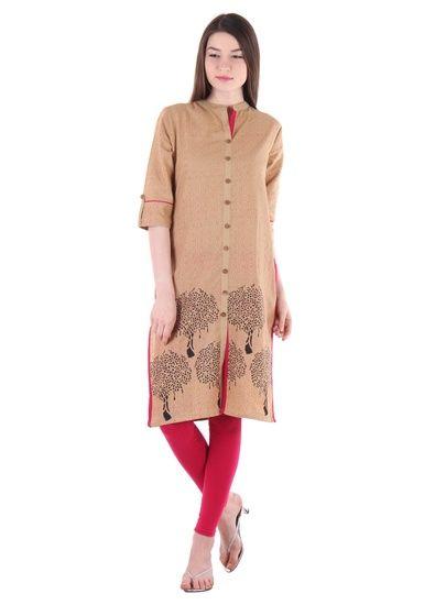 Buy FAB9 BEIGE BLOCK PRINT KURTA Online India at lowest prices - 4010240