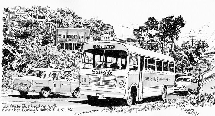 The old Surfside Bus Line at the Gold Coast in the early 60s at Burleigh Hill  (Artist - Kevin Rogers)