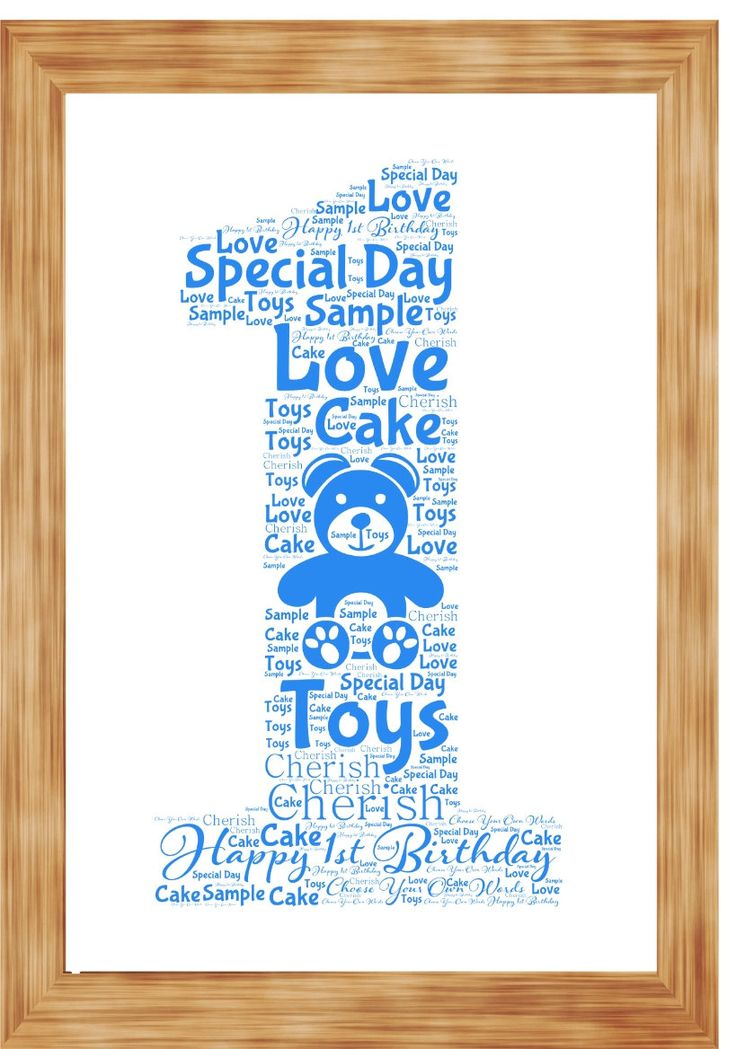 1st Birthday Anniversary Word Art Print Personalised with your own words by SandraCraftyCardz on Etsy