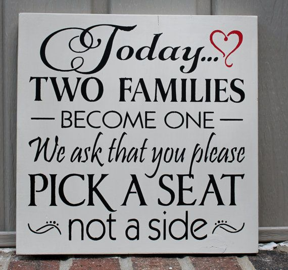 wood wedding sign  today two families become one  pick a