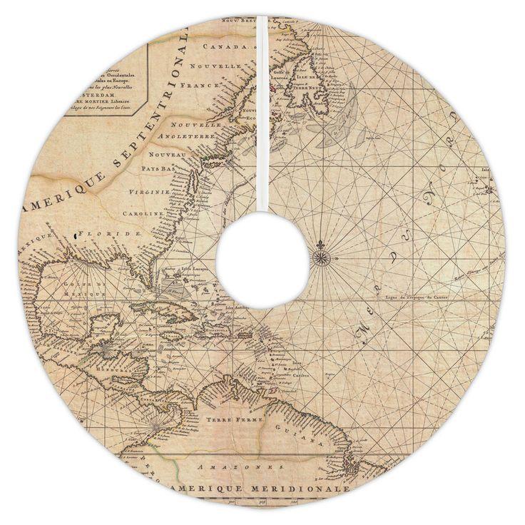Old World Nautical Chart Christmas Tree Skirt