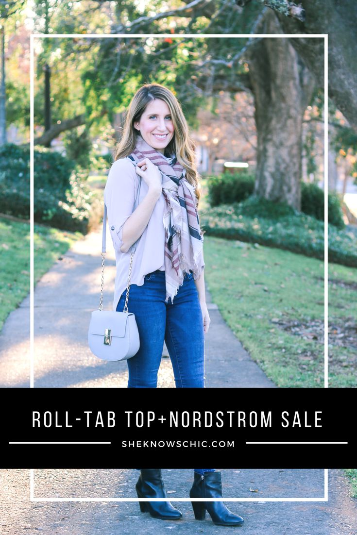 winter outfit, roll tab tunic, black booties outfit, chain purse, how to tuck shirt in jeans, plaid scarf, winter style, fall style, winter fashion, fall fashion