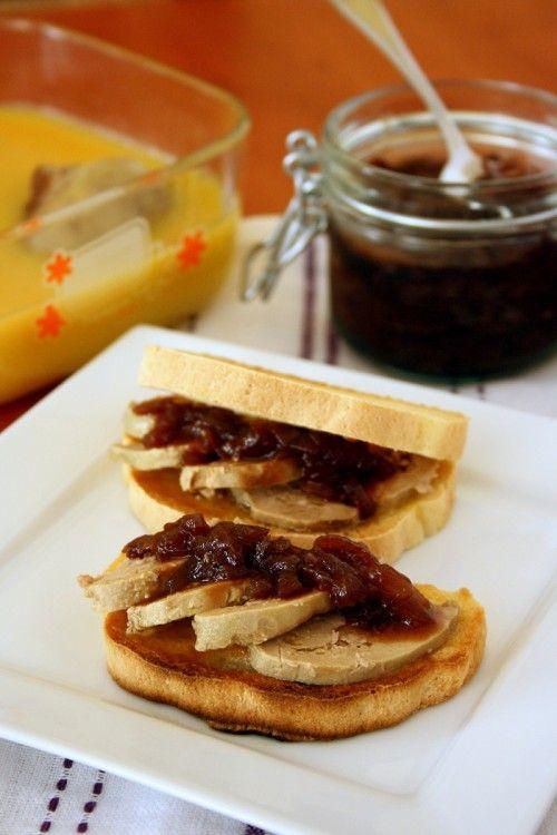 Kacsamájas szendvics lilahagyma-lekvárral