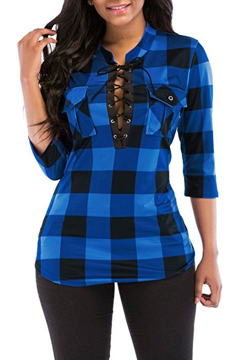 f034cedcf73 KISSMODA Womens Sexy Roll Up Sleeves Deep V Neck Fitted Flannel Shirts Tops  Evening Blouses Blue X-Large at Amazon Women s Clothing store