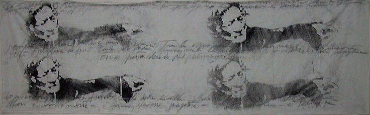 """autore: Francesca Scammacca - """"C'è questo in me"""" - acrilici, grafite e carboncino su tela - cm 258x80 - 2001"""