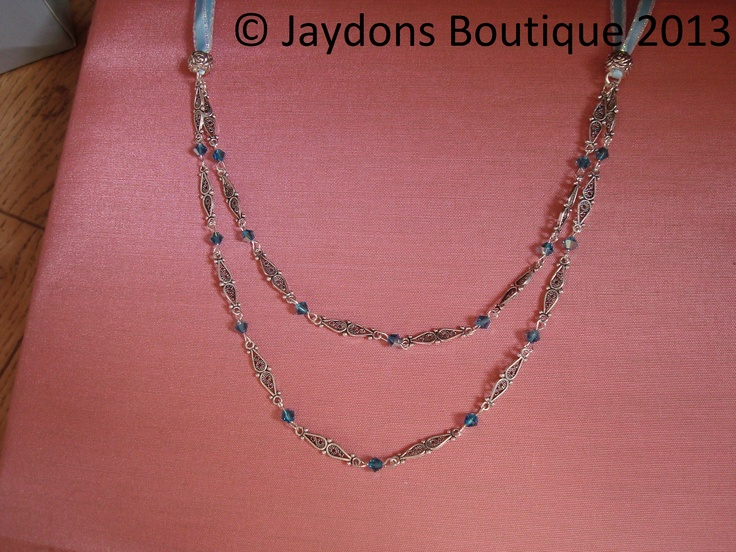 Sterling Silver, Marcasite Ribbon Necklace with Genuine Swarovski Crystals x