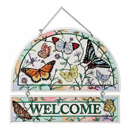 Amia® 'Rainbows And Butterflies' Stained Glass Welcome Sign #searswishbook