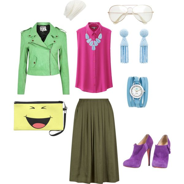 Olive Skirt + Bright Colors by edeln on Polyvore featuring, Uniqlo, Pam & Gela, Christian Louboutin, Oscar de la Renta, Kendra Scott, La Mer and Forever New