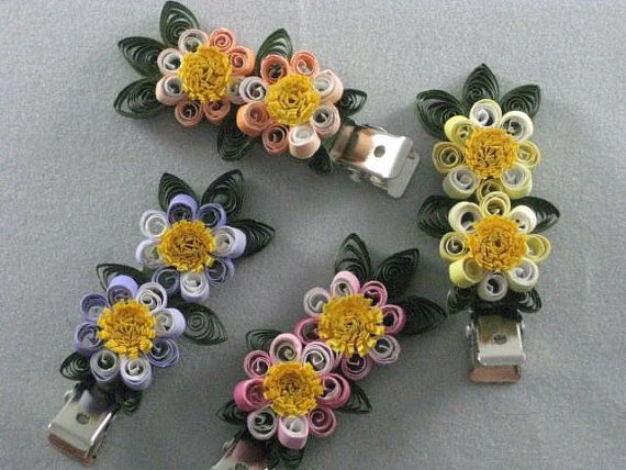 Quilled paper 2 flower hair clips quilling paper and band for Quilling kitchen set