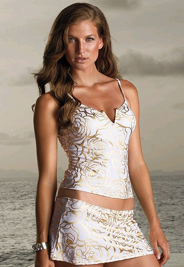 Like this white and gold tankini