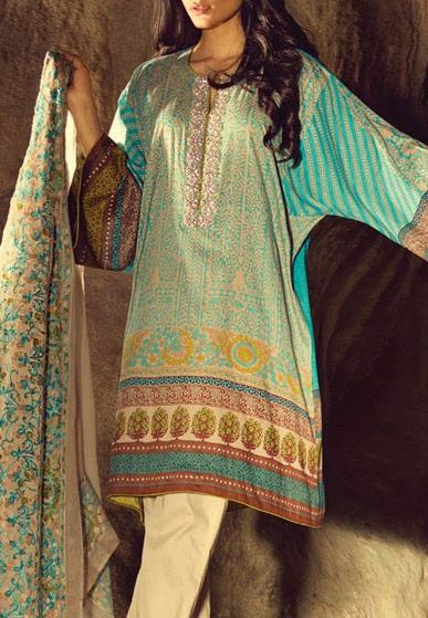 Buy Sky-Blue/Yellow Embroidered Cotton Lawn Dress by Sana Safinaz Spring/Summer Collection 2015.