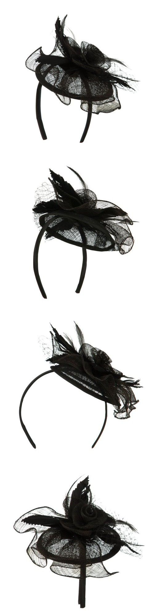 Women's Round Rose Headband Fascinator - Black OSFM