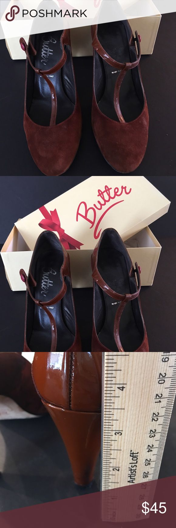 "Butter Swede and Patented Shoes Size 8 - used Butter swede and patented leather shoes. Rust color Size 8, approx 3"" heel. Sole is leather. Shoes are in original box.  ""Betty"" model. Please ask questions before purchasing as I do my best to describe items.  🚫 trades. Reasonable offers accepted. Butter Shoes Shoes Heels"