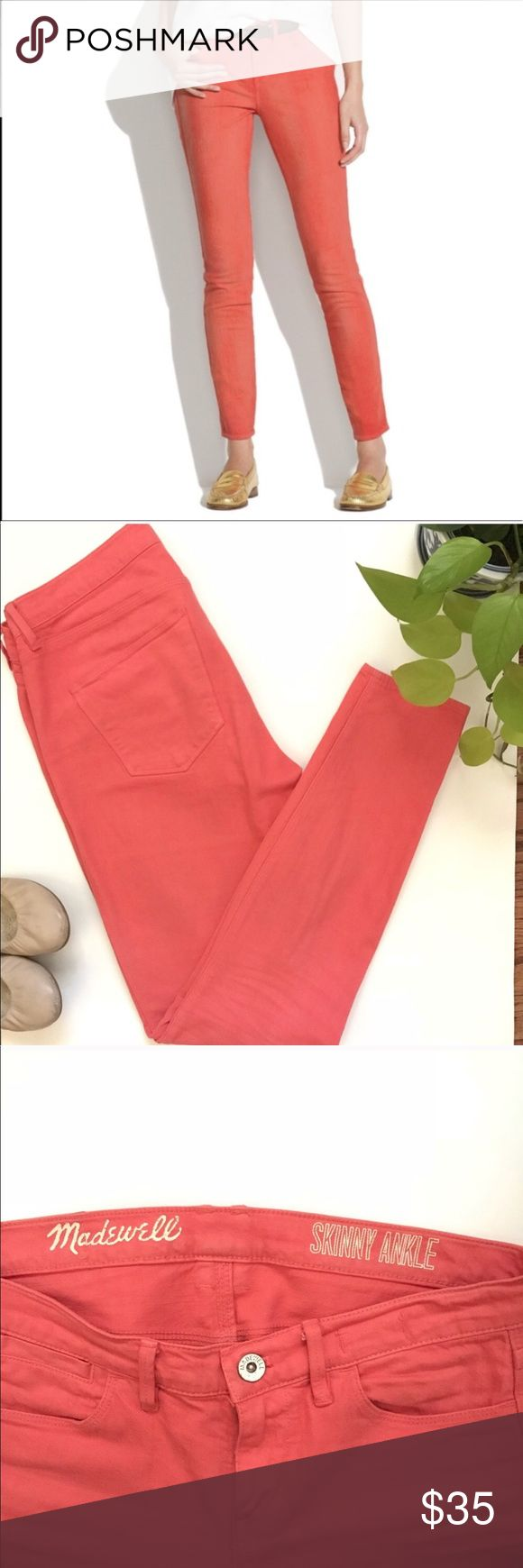 """Madewell coral skinny jeans Madewell coral skinny jeans. 100% cotton and super comfortable in size 25 and inseam about 28.5"""". They were rarely worn and in excellent condition. For sizing reference, I am 5'4"""" and weight 115 lbs, and these hit perfectly at the ankles. Bundle up to save! Madewell Jeans Skinny"""