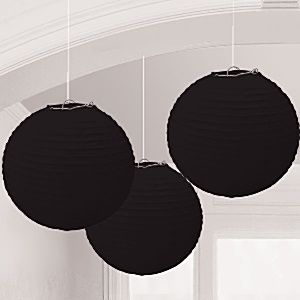 Schwarze Papierlampions 24cm
