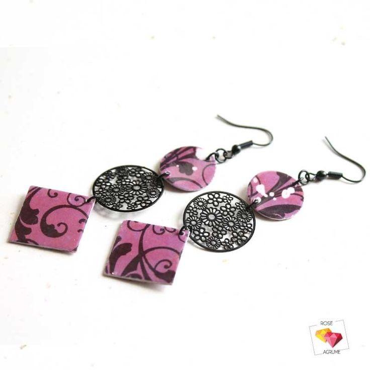 boucles-oreilles-papier-violet-estampe-noire-metal-rose-agrume