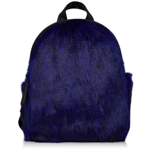 Charlie Navy Fur Mini Backpack ($47) ❤ liked on Polyvore featuring bags, backpacks, navy backpack, daypack bag, day pack backpack, mini backpack and mini bag