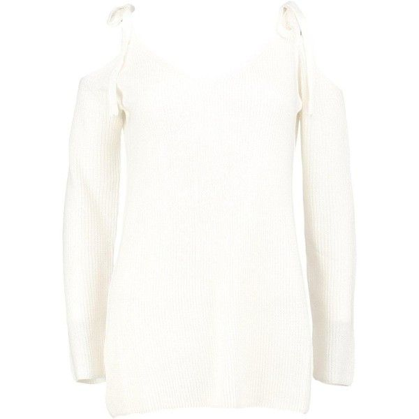 Boohoo Louise Lace Up Shoulder Jumper ($30) ❤ liked on Polyvore featuring tops, sweaters, party jumpers, white wrap sweater, sequin sweater, chunky white sweater and wrap sweater