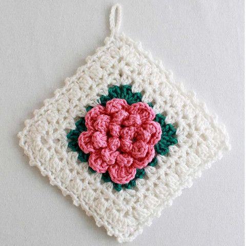 Free Crochet Rose Square Pattern : Maggies Crochet ? Popcorn Rose Potholder and afghan ...