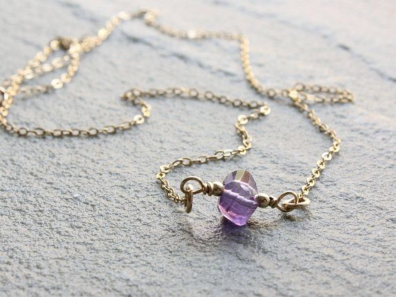 Amethyst Necklace 14kt Goldfilled wire wrapped purple