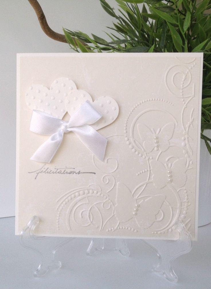 carte mariage flicitations noeud satin blanc papillon emboss coeur cartes - Carte De Mariage Felicitation