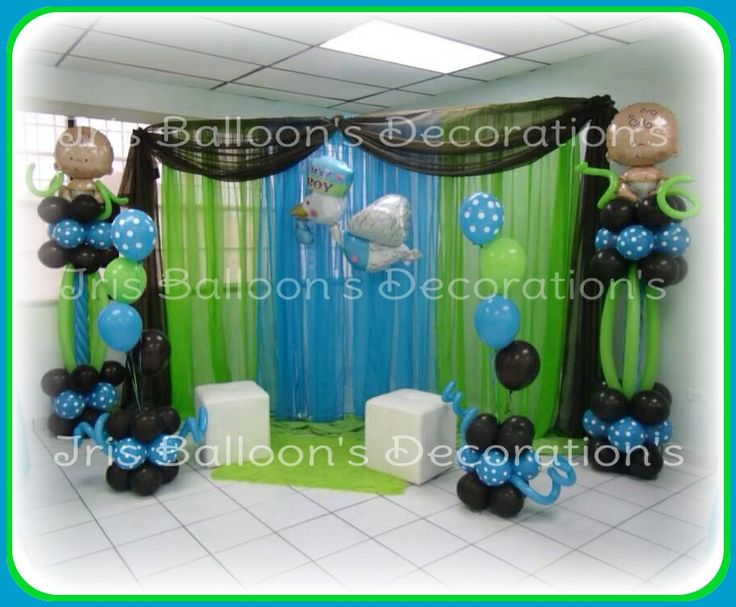 Baby shower de ni o decoraciones con globos for Buscar decoraciones