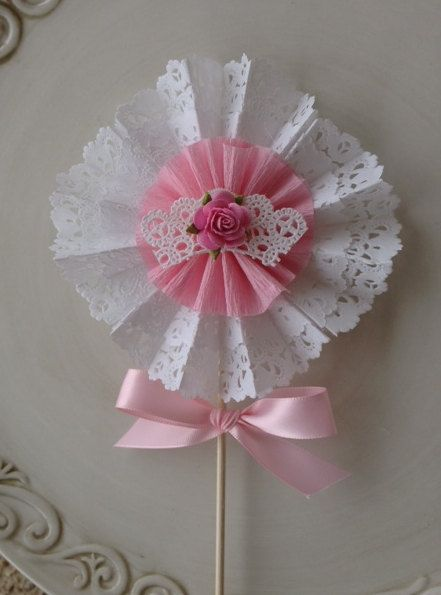 Shabby Chic Decorative Wand Cake Topper for Birthday by JeanKnee, $10.00