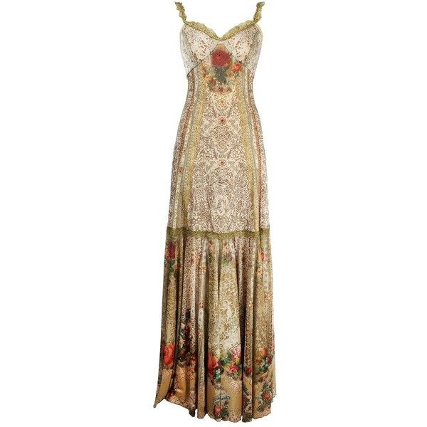 Floor-Length Special Occasion Dress Designed By Michal Negrin With Lace Like And Roses Pattern, Lace Trim Edge & Swarovski Crystals ($1,719) found on Polyvore