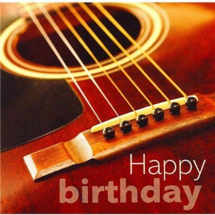Acoustic Guitar ~ Happy Birthday Card With Warmest Wishes!