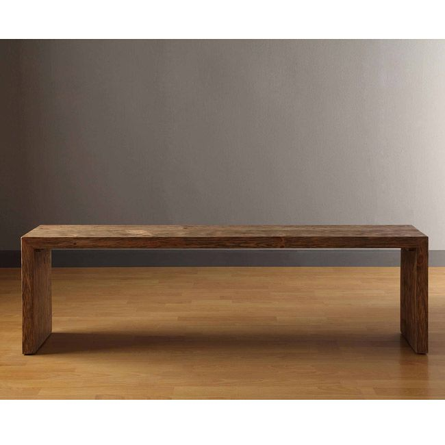 Add some rustic charm to your home with this solid pine weathered wooden bench. With a gray-brown reclaimed finished look and metal hardware finish accents, this wooden bench is a beautiful and functional piece to adorn your entryway or sitting area.