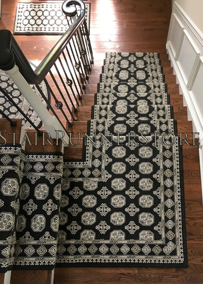 Best Ancient Garden Stair Runner 57102 Charcoal 31 In 2020 400 x 300